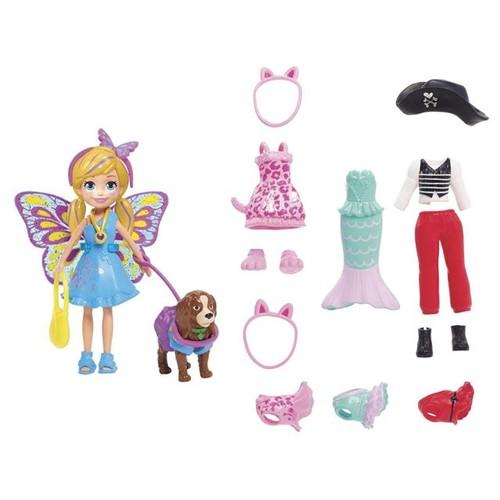 Boneca Polly Pocket Cachorro com Fantasia GDM15 Mattel Colorido