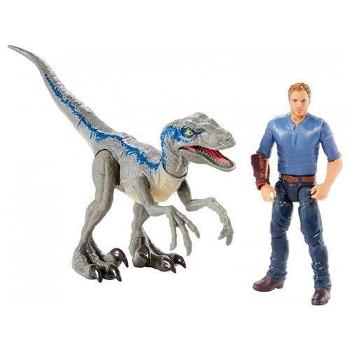 Boneco Jurassic World - Velociraptor Blue Vs Owen Fmm49