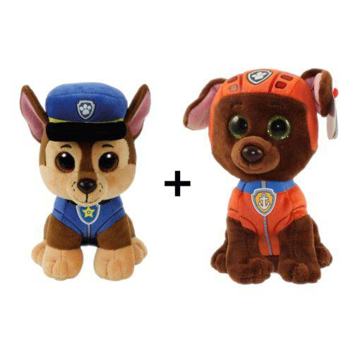 Boneco Patrulha Canina Pelucia 16cm Dtc - Kit Chase + Zuma