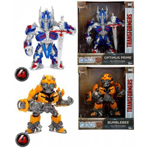 2 Bonecos Transformers The Last Knight Optimus Prime e Bumblebee Metalfigs Jada - Suika