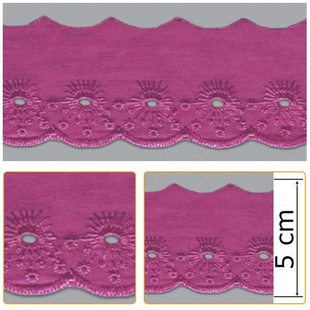 Bordado Inglês BP014 008 Pink - 5 Cm