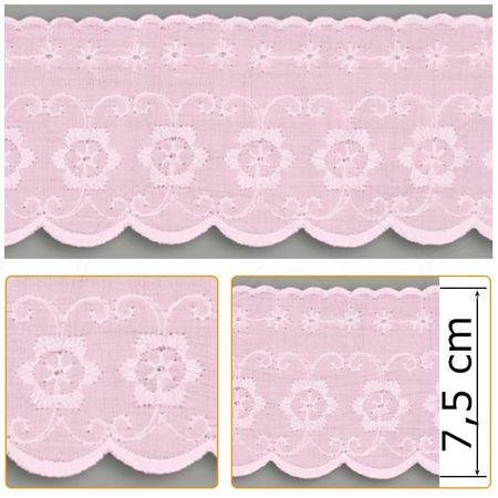 Bordado Inglês BP018 007 Rosa - 7,5 Cm