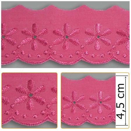 Bordado Inglês BP053 008 Pink - 4,5 Cm