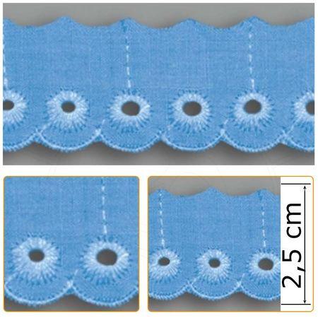 Bordado Inglês BP051 010 Azul Celeste - 2,5 Cm