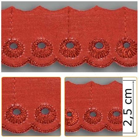 Bordado Inglês BP051 014 Vermelho - 2,5 Cm