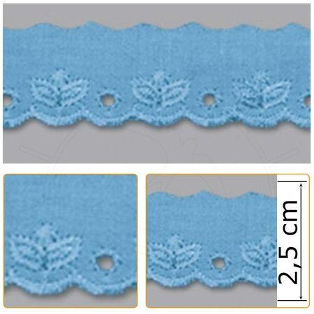 Bordado Inglês BP059 010 Azul Celeste - 2,5 Cm