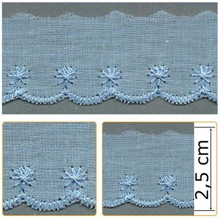 Bordado Inglês BP070 010 Azul Celeste - 2,5 Cm