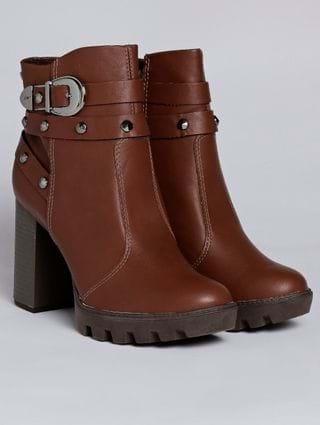 Bota Ankle Boot Feminina Marrom
