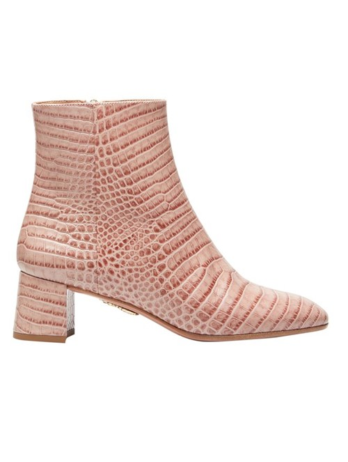 Bota Ankle Boot Grenelle 50 de Couro Rosa Tamanho 34