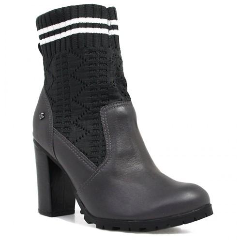 Bota Cravo e Canela Ankle Boot Salto Cinza