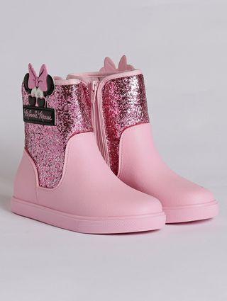 Bota Minnie Shine Infantil para Menina - Rosa