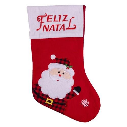 Bota Natalina Papai Noel e Neve Havan Vermelho