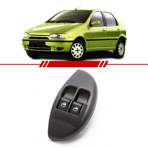 Botão Interruptor Duplo Vidro Elétrico Dianteiro Palio Young 2001 a 2002 Led Verde com Moldura Lado Esquerdo