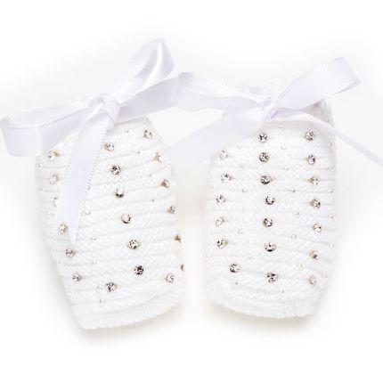 Botinha para Bebe em Tricot Laço Cetim & Strass Branca - Roana