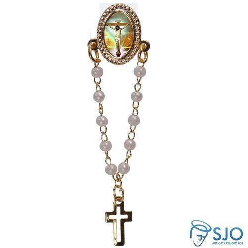 Botton com Mini Terço Jesus Crucificado | SJO Artigos Religiosos