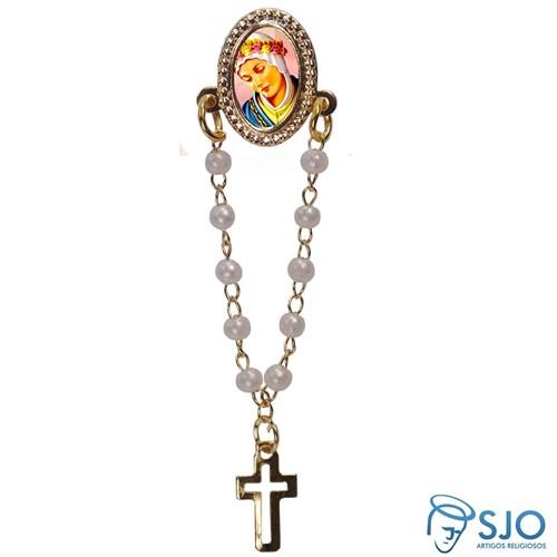 Botton com Mini Terço Nossa Senhora da Salete | SJO Artigos Religiosos