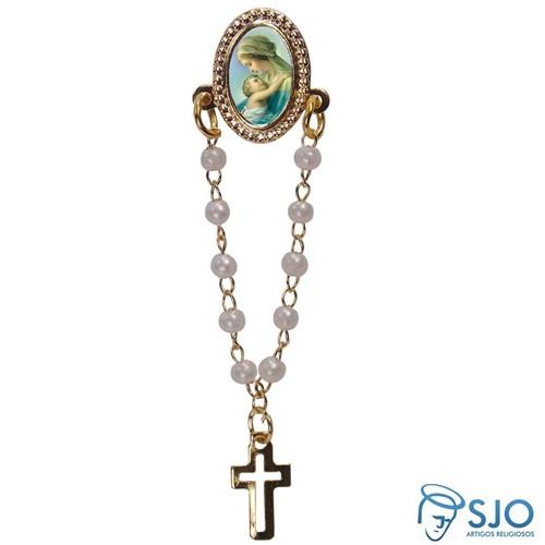 Botton com Mini Terço Nossa Senhora do Abraço | SJO Artigos Religiosos