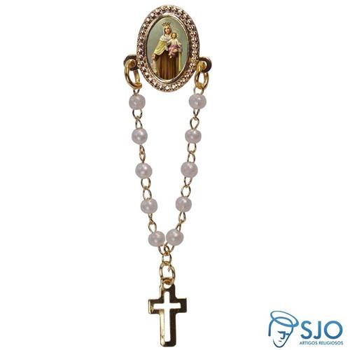 Botton com Mini Terço Nossa Senhora do Carmo | SJO Artigos Religiosos