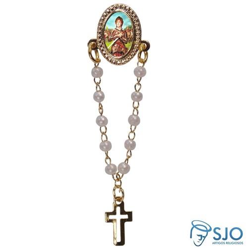 Botton com Mini Terço Santa Joana D'Arc | SJO Artigos Religiosos