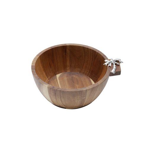 Bowl em Madeira Acácia Bon Gourmet Palmeira 25x11cm