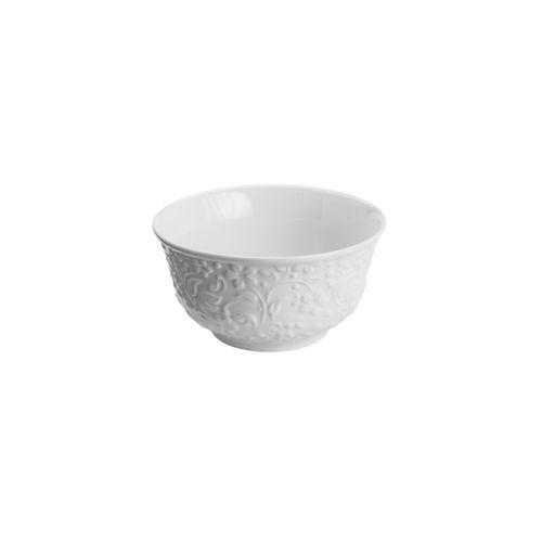 Bowl em Porcelana Branco Flowers 12cm