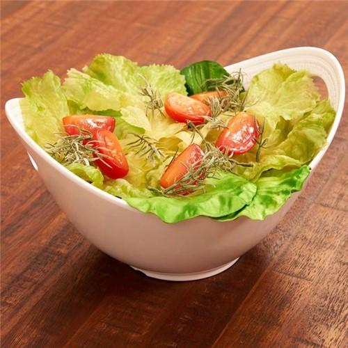 Bowl para Salada Melanina Oval Branco Branco