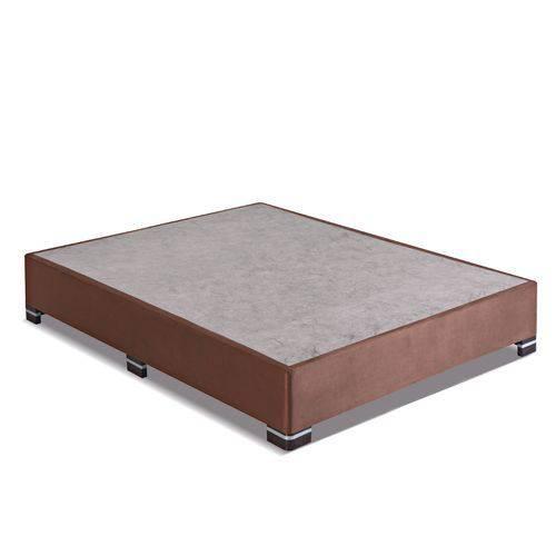 Box Casal Kappesbberg 138X188x35 Cm com Pés Cantoneira Suede - Marrom