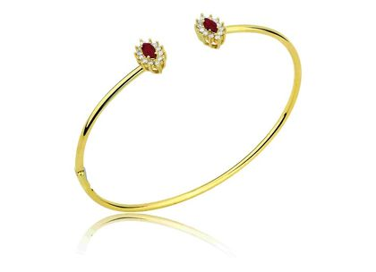 Bracelete Aberto Rubi Oval Ouro Amarelo