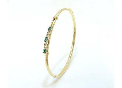 Bracelete Fechado Três Esmeraldas Ouro Amarelo
