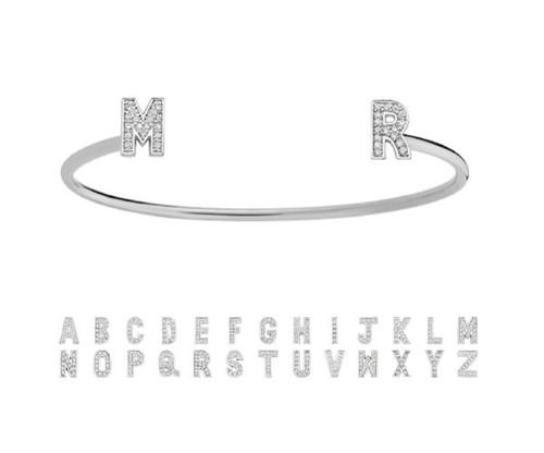 Bracelete Personalizado com Letras Cravejado com Cristais Zircônias Banhado a Ródio Branco