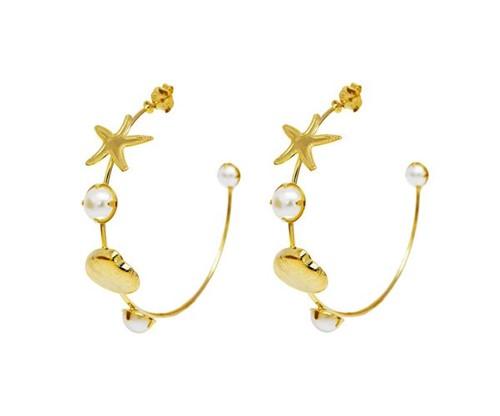 Brinco Argola Conchas e Estrelas do Mar Banhado a Ouro 18k