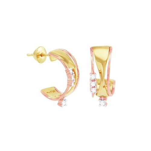 Brinco Argola em Ouro 18K com Diamantes - AU1214