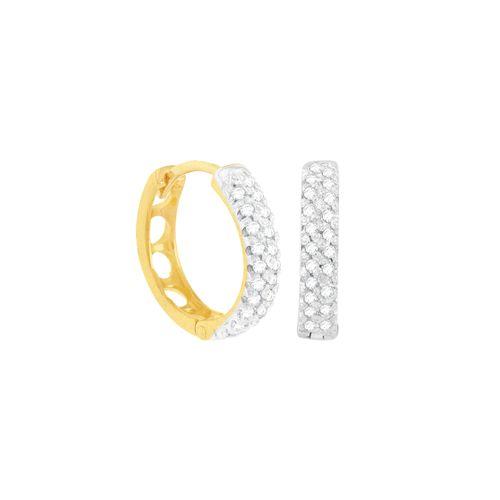 Brinco Argola em Ouro 18K com Diamantes - AU4859