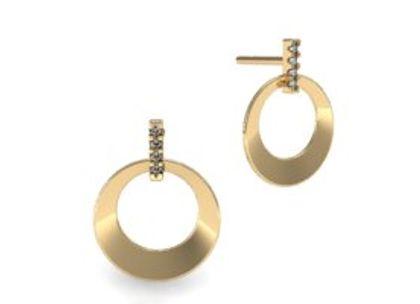 Brinco Círculo Bold com Diamantes Ouro Amarelo