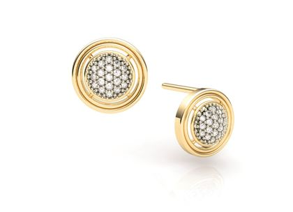 Brinco Círculo de Diamantes Ouro Amarelo