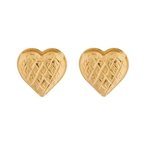 Brinco Coração Diamantado Ouro 18k 750