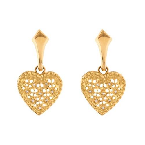 Brinco Coração Ouro 18k 750 e Diamante