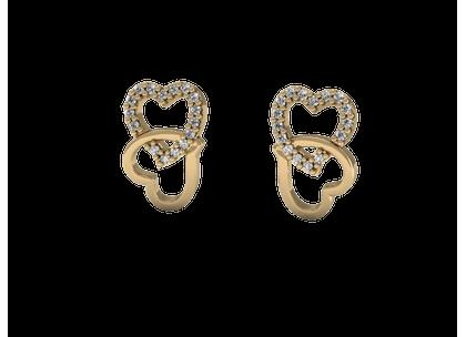 Brinco Corações com Diamantes Ouro Amarelo