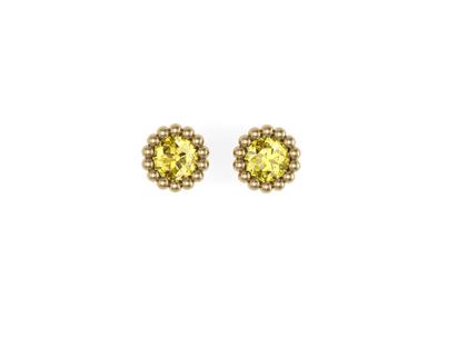 Brinco de Citrino Pequeno Rodeado de Bolinhas Ouro Amarelo