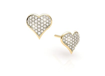 Brinco de Coração com Diamantes Ouro Amarelo