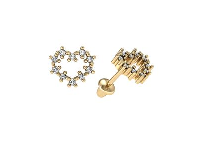 Brinco de Coraçãozinho de Diamante Ouro Amarelo