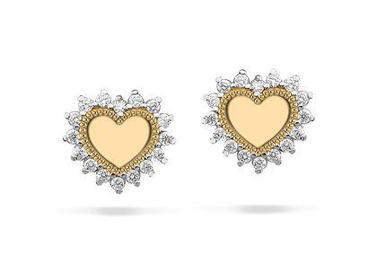 Brinco de Corações com Diamantes Ouro Amarelo