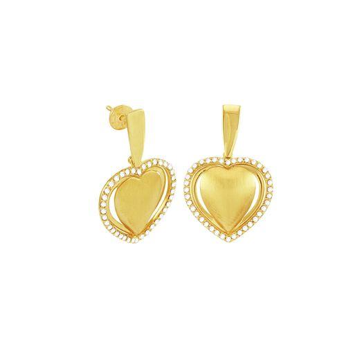 Brinco de Ouro 18K Coração com Diamantes - AU1264