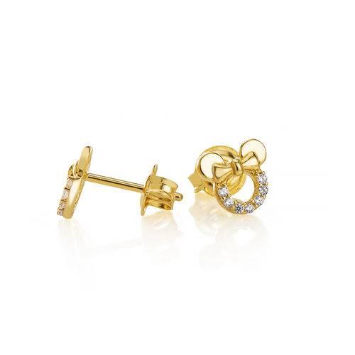 Brinco de Ouro 18k Infantil Minnie Vazado com Zircônia Br23464