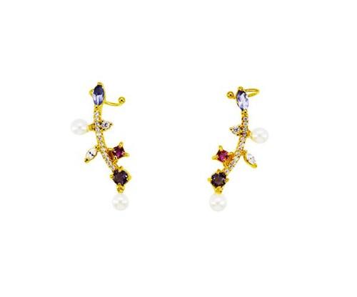 Brinco Ear Cuff Delicado Cristais Coloridos e Pérolas Banhado a Ouro 18k