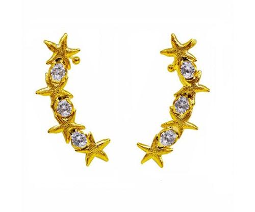 Brinco Ear Cuff Estrelas do Mar Cristais Banhado a Ouro 18k