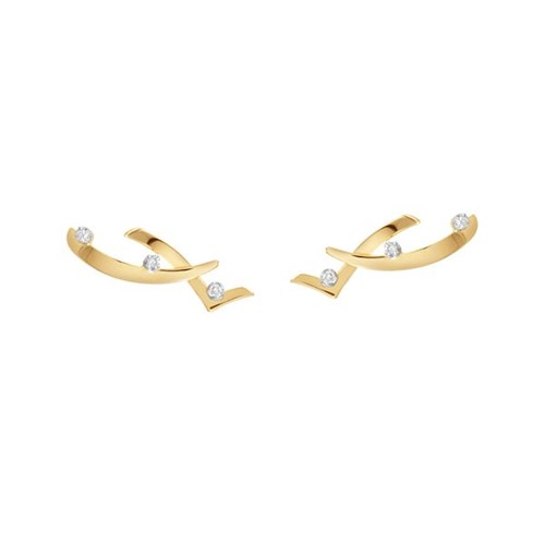 Brinco Ear Cuff Ouro Amarelo 18K com Diamante - Singular
