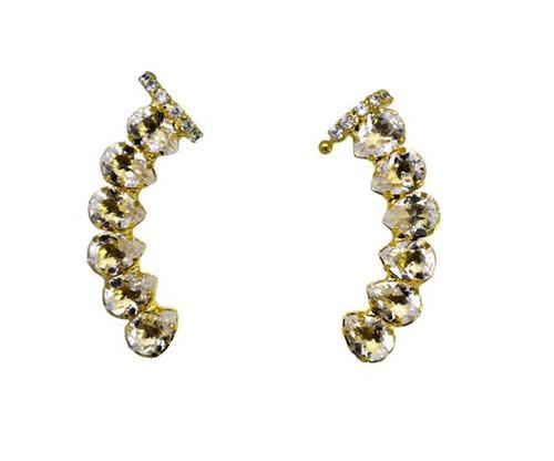 Brinco Ear Cuff Show de Gotas Cristais Banhado a Ouro 18k