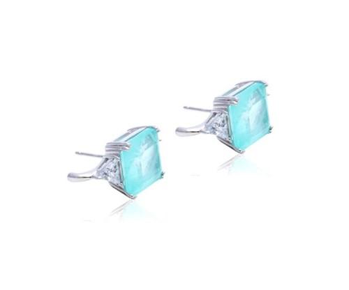 Brinco Ear Hook Fusion Turmalina Quadrado com Cristal Triângulo em Prata 925