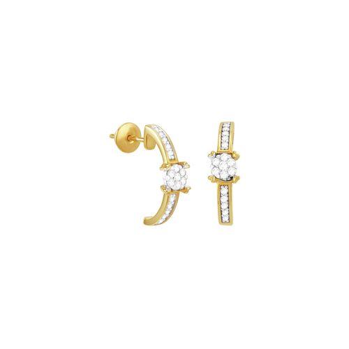 Brinco em Ouro 18K Argola com Diamante - AU3428